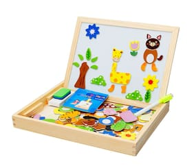 Lodestone's Wooden Drawing and Writing Board with Magnetic Puzzle Game for Educational Learning