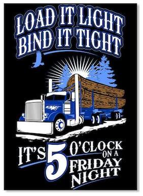 Log Hauler Friday Night Left Chest Load It Light Bind Tight Sticker - Portrait