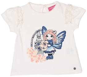 London Fog Blended Printed T shirt for Baby Girl - White