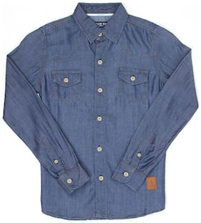 London Fog Boy Cotton Solid Shirt Blue
