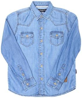 London Fog Boy Cotton Solid Shirt Blue
