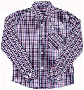 London Fog Boy Cotton Solid Shirt Purple