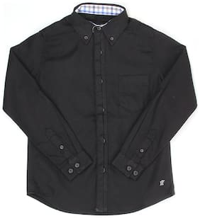 London Fog Boy Cotton Solid Shirt Black