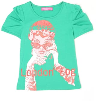 London Fog Girl Polyester Solid Top - Green