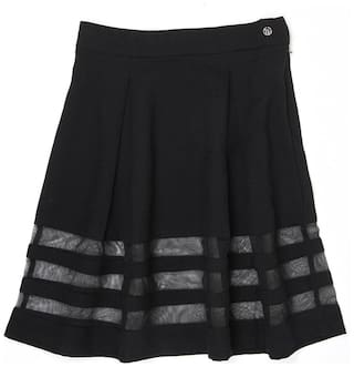 London Fog Girl Polyester Solid Flared skirt - Black