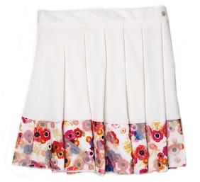 London Fog Girl Polyester Printed Flared Skirt Skirt - White