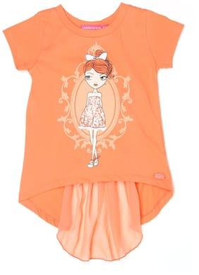 London Fog Girl Cotton Printed Top - Orange