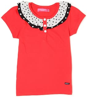 London Fog Girl Cotton Solid Top - Red