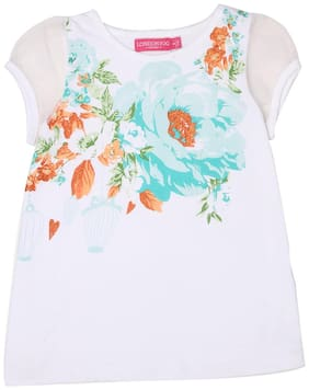 London Fog Girl Cotton Printed Top - White