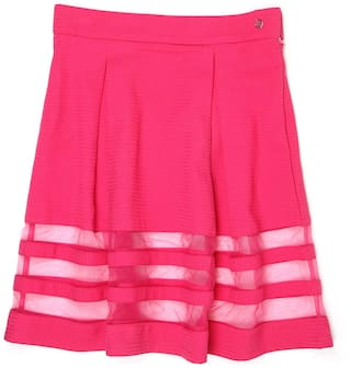 London Fog Girl Polyester Striped Flared skirt - Pink