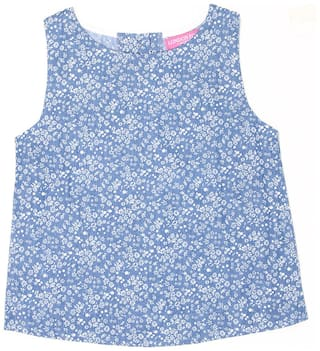 London Fog Girl Cotton Printed Top - Blue