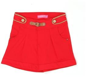 London Fog Girl Cotton Solid Regular shorts - Maroon