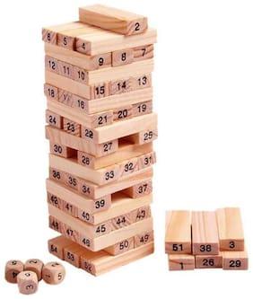 LOOTMELA 51 pcs Building Blocks And 4pcs Wooden Dice 3 (Brown)