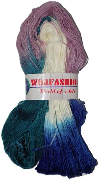 Lovable Acrylic Hand Knitting Yarn (Multi White Purple Blue) (170g)
