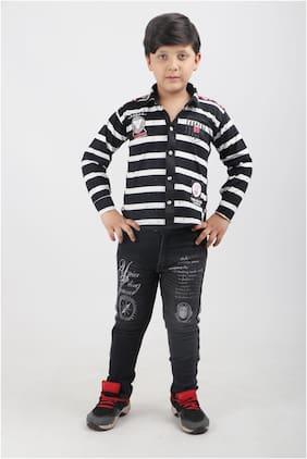 LTP Cotton blend Striped Top & Bottom Set - Black
