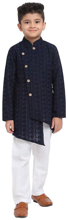 Navy Blue;White Kurta Pyjama Set