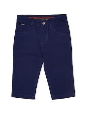 LUCKY Blue Girl Cotton Solid Capri - Blue