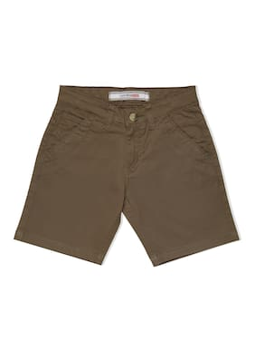 LUCKY Blue Cotton Blend Solid Green Color Shorts For Boys