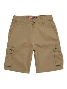 LUCKY Blue Cotton Solid Beige Color Shorts For Boys