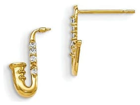 Madi K 14k Yellow Gold Children's Saxaphone Post Polished Earrings