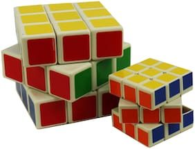 Magic Cube 3x3x3 Puzzle Cube Toy Multicolor (Pack Contain 2 Pcs Medium + 1 Small)
