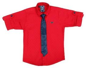 Mash Up Boy Cotton Solid T-shirt - Maroon