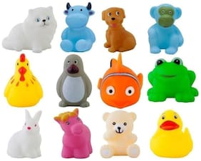Mahvi Toys 12 Piece Toddler Baby Bathtub Bathing Chu Chu Squeeze Bath Toys Non-Toxic BPA Free, Animal Shape (Color May Vary)