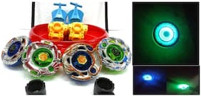 Mahvi Toys 4 Metal Beyblades with Led Lights (4 Launchers & 1 Big Beyblade Stadium with 2 Spring Action Launcher)