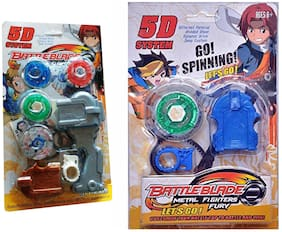 Mahvi Toys 5D System Beyblade Set with Handle Launcher Metal Master Fury Fighters(2 pcs)