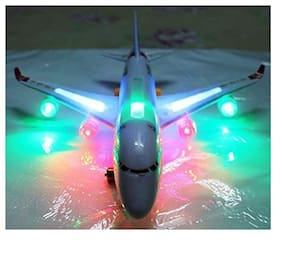 Mahvi Toys Airbus Plane Flashing Lights Music Kids Toy Battery Operated Bump N Go Aeroplane
