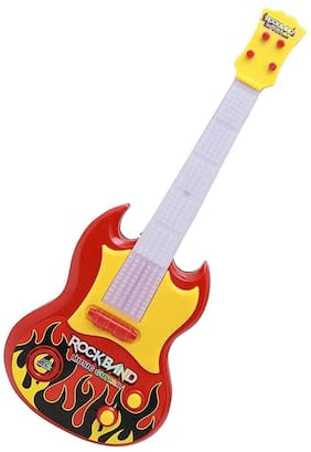 Mahvi Toys Battery Operated Classical Acoustic Rockband Musical Guitar with Lights (Multicolor)