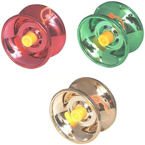 Mahvi Toys Fine Quality High Gloss high Speed Metal YoYo Spinner Toy (3 pcs) (Color May Vary)