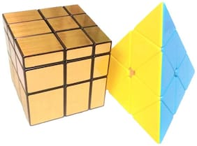Mahvi Toys High Speed Stickerless Colorful Triangular Pyramid Shaped(Multicolor) & 3x3x3 Golden Mirror Magic Rubix Cube