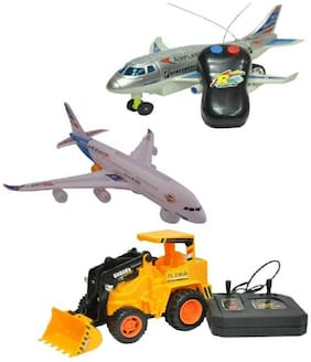 Mahvi Toys Pack of Remote Plane & Remote Truck with musical Airbus plane