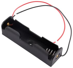 MAKER AND HACKER  1x 18650 Battery Holder Black Plastic Storage Box Case  With 6 Wire Leads