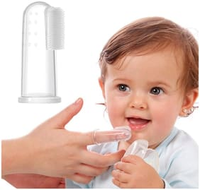 Marketwala Silicone Finger Baby/Toddler Toothbrush with Case for Teeth & Tongue (Pack of 1)