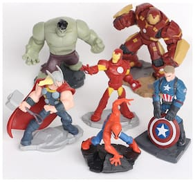 Marvel Avengers Infinity War Set Of 6 Pcs. Iron Man, Hulk, Captain America, Spiderman, Thor, Iron Man Hulk Buster 8-12 Cms. Action Figure