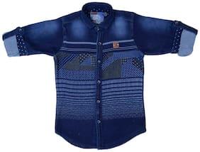 Mash Up Boy Cotton Solid T-shirt - Blue