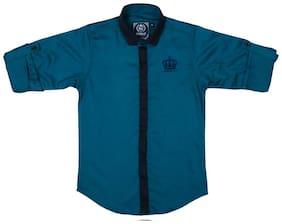 Mashup Boy Cotton Checked Shirt Blue