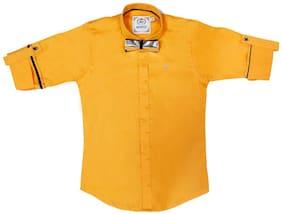 Mash Up Boy Cotton Solid T-shirt - Yellow