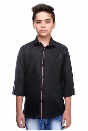 Mash Up Boy Cotton Solid Shirt Black