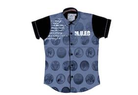 Mashup Boy Cotton Printed Shirt Blue