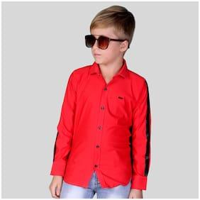 Mashup Boy Cotton blend Printed Shirt Red