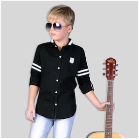 Mashup Boy Cotton blend Striped Shirt Black