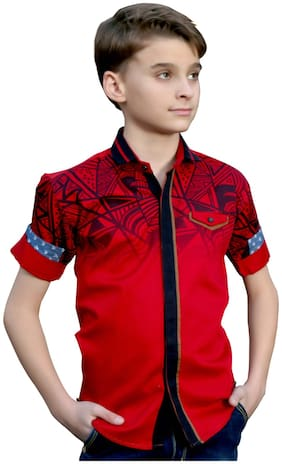 Mashup Boy Cotton Printed Shirt Red