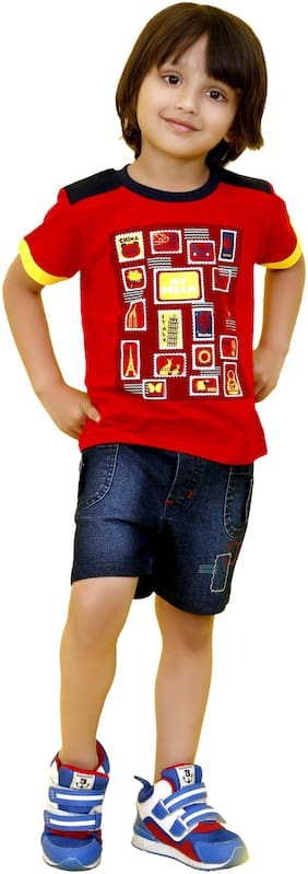 Mashup Cotton blend Solid Top for Baby Boy - Red