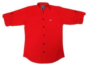 Mash Up Boy Cotton Solid T-shirt - Red
