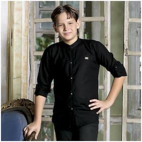 Mashup Boy Blended Solid Shirt Black