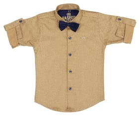 Mash Up Boy Cotton Solid T-shirt - Brown
