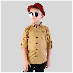 Mashup Boy Cotton blend Solid Shirt Beige